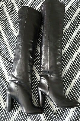 NINE WEST Black Leather Pull Up High Heel Above Over Knee Boots size 7.5