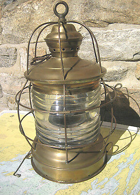 Large Vintage Brass Nautical Ships Lantern Lamp W.S. Ray Maritime Light Yacht