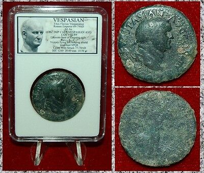 Roman Empire Coin VESPASIAN Bronze As Flying Victory With Shield On Reverse