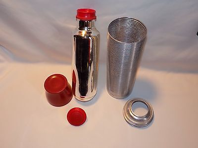 Vintage Original Thermos King Seeker Quart Ribbed Aluminum Red Bottle #2484