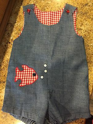 Vintage Baby Boy Short Romper With Red Gingham Fish Pearl Buttons Size 6 m