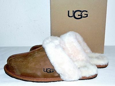 New Nib Womens Size 8 Ugg 5661 Scuffette Ii Chestnut Suede Mules Slides Slippers