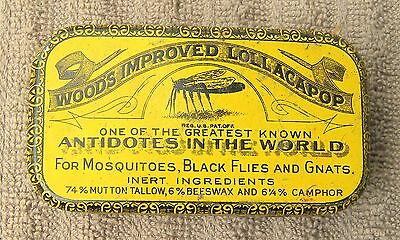 Vintage Wood's Improved Lollacapop Mosquito Black Flies Gnats Medicine Tin Can