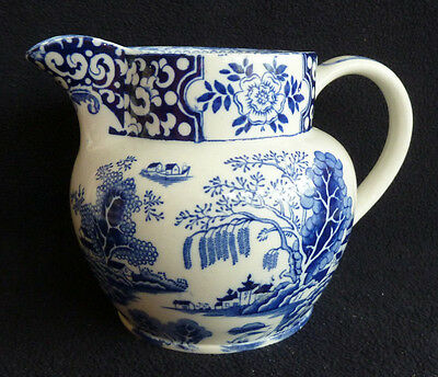 """Vintage 2 Pint Blue & White China Jug """"Willow"""" Green & Co Decorative (a.f.)"""