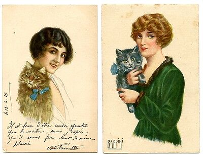 2 vintage cat postcards art deco beautiful women w cats Rappini