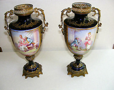 """URNS, Antique COBALT & gilt SEVRES (style?), hand painted by Munier, 10"""" high"""