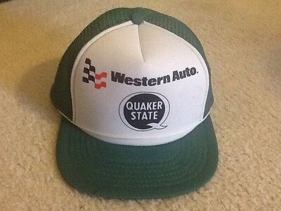 Vintage Trucker Hat Western Auto Quaker State Gas Oil NOS FREE SHIPPING!