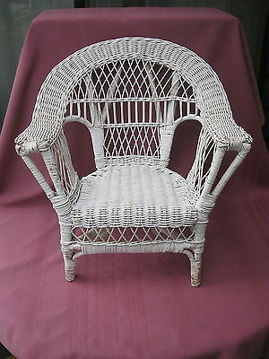 WHITE 53cm HIGH CANE/WICKER CHAIR SUITABLE FOR DOLLS, TEDDIES & TOYS