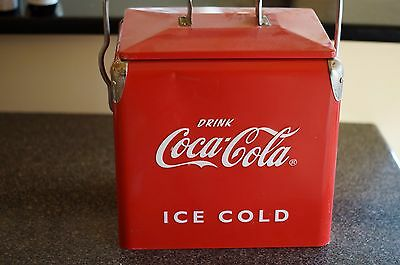 Vintage coca cola ice box cooler with bottle cap remover