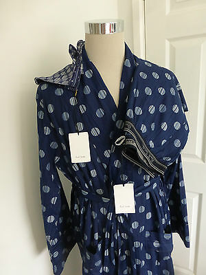 Paul Smith Blue Dressing Gown Bath Robe Pyjams Bottoms Pocket Square size L