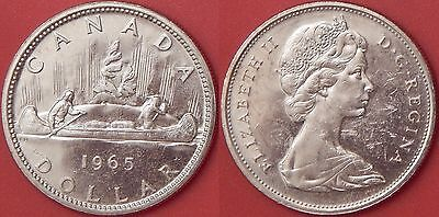 Brilliant Uncirculated 1965 Canada Medium Beads & Pointed 5 Silver 1 Dollar