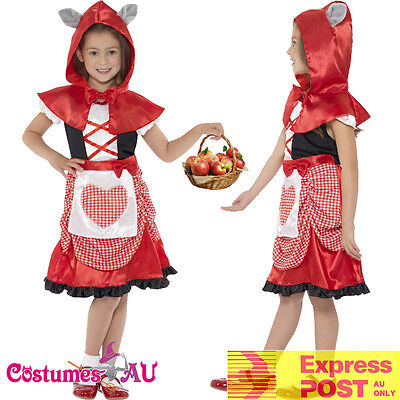 Girls Miss Little Red Riding Hood Costume Book Week Storybook Kids Fancy Dress