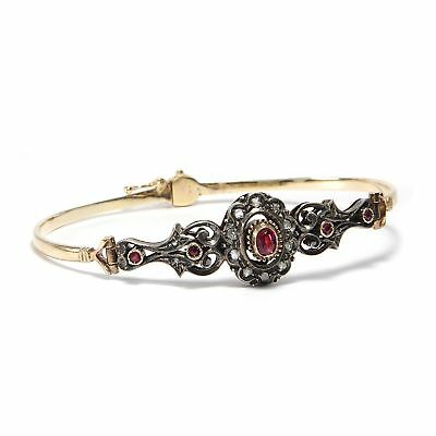 MAGNIFICENT RUBY & Diamond Bracelet in 585 Gold & Silver/Diamond Rose Ruby