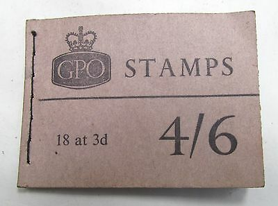 GPO 18 x 3d VINTAGE STAMP BOOK OCTOBER 1962 GENERAL POST OFFICE 7 LEFT 1960s