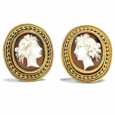 Around 1875: Antique 625 Gold GEMS Earrings, Kammee, Ear screws/ Cameo Earrings