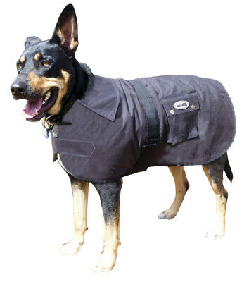 Oilskin Dog Coat Nullarbor Rug Waterproof winter well fitted fur lined 25cm-85cm