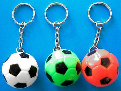 Bulk Lot x 12 Mixed Colour Soccer Ball Keyrings Kids Party Favor Novelty Toy NEW