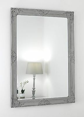 "Gerona Grey Shabby Chic Rectangle Vintage Wall  Mirror 35"" x 25"" Large"