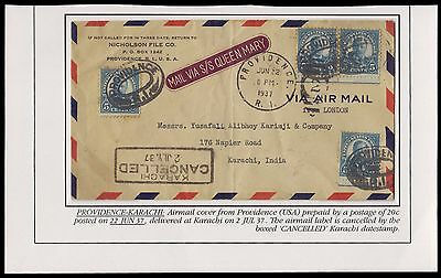 Usa 1937 Rare Karachi Cancelled Airmail Cover To India With 4 Values