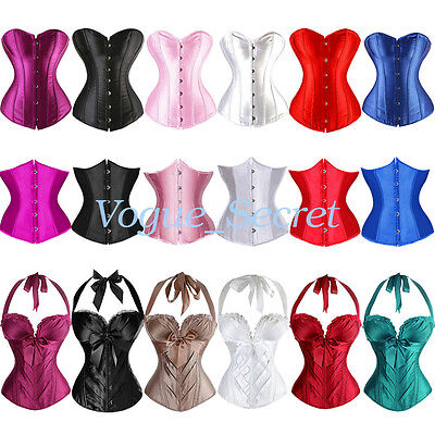 Plus Size Womens Underbust Corset Top Waist Training Corsets Bustier Satin S-6XL