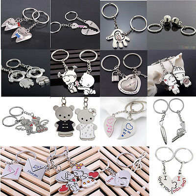2Pcs Love Heart Symbols Key Chain Ring Keyring Keyfob Lover Couple Gift Newest