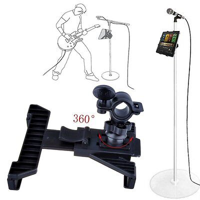 Mic Microphone Pole Music Stand Mounting Clamp | iPad 1 2 3 4 5 Air or 7-13""