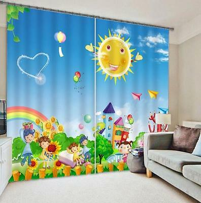 3D Cartoon Sun Blockout Photo Curtain Printing Curtains Drapes Fabric Window CA