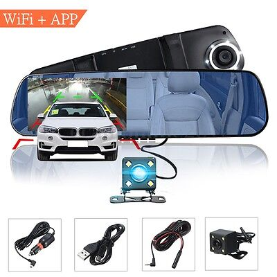4.3'' 1080P Car DVR Dual Lens Rearview Mirror Camera Dash Cam Wifi GPS App Ctrl