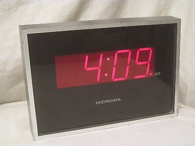 vintage Micronta Electronic LED Wall  stand Clock 63-805B red retro Tandy decor