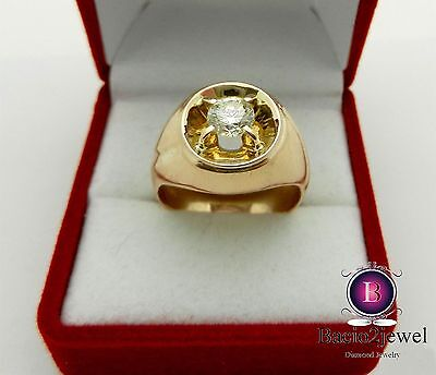 10K Yellow Gold Solitaire Mens Diamond Engagement Pinky Ring Wedding Band Round