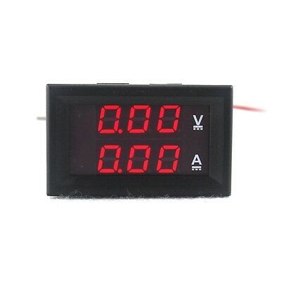 Digital Voltmeter Ammeter DC 100V 10A Dual Red LED Ampere Voltage Panel Meter