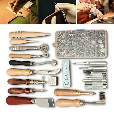 25Pcs Leather Craft Tools Kit Hand Sewing Stitching Punch Carving Work Groover