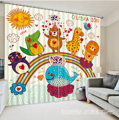 3D Sun Cartoon Blockout Photo Curtain Printing Curtains Drapes Fabric Window CA