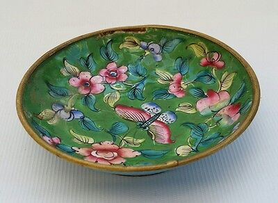 Vtg Antique Pink Blossom & Butterfly Chinese Cloisonne Enamel Pin or Ring Dish