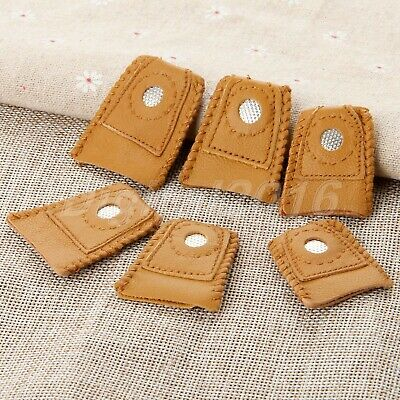 2pcs Dressmakers Vintage Leather Finger Thimble Protector Sewing Neddle Shield
