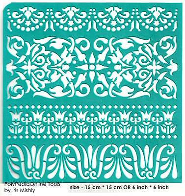 Stencil Ethnic Borders Pattern Reusable Adhesive Flexible Henna Sticker Tattoo
