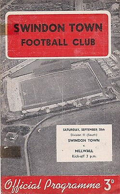 Swindon Town v Millwall,  Division 3 South,  28/9/1957