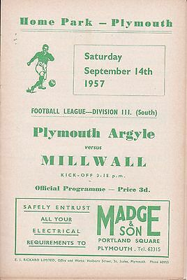 Plymouth Argyle v Millwall,  Division 3 South,  14/9/1957