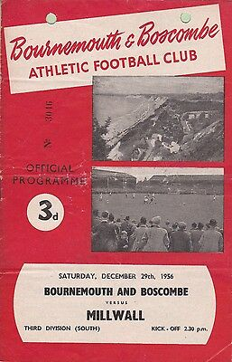 Bournemouth & Boscombe v Millwall,  Division 3 South,  29/12/1956