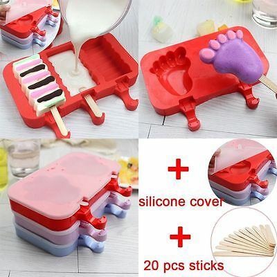 Face Lolly Maker Frozen Pan Ice Pop Mold Silicone Tray Cream Popsicle Mould