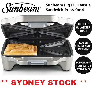 Sandwich Press Jaffle Maker Sunbeam 4x Big Fill Toastie Non Stick Grill Toaster