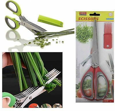 Herb Scissors 5 Blade Office Cutting Kitchen Tool Shears Vegetable Meat Chef New
