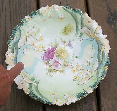 """hidden lady head images of unmarked decorative china bowl with """"iris"""" floral flo"""