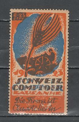 1923 Schweiz Comitoir Lausanne Poster Stamp Unmounted Mint Full Gum ( For Condit