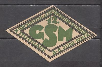 1925 Stuttgart (Germany) GSM Grossisten Poster Stamp Unmounted Mint Full Gum ( F