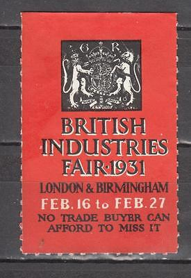 1931 British Industries Fair Poster Stamp Unmounted Mint No Gum ( For Condition