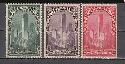 1934 Set Of 3 Poster Stamps National Stamp Exhibition Different Colours New York