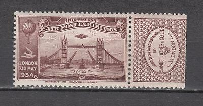 1934 London International Air Post Exhibition Poster Stamp With Advertising Labe