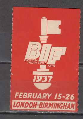 1937 London-Birmingham BIF British Industries Fair Poster Stamp Unmounted Mint F