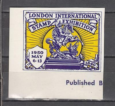 1950 London International Stamp Exhibition Purple/Yellow Imperf Unmounted Mint F